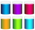 Colourful beakers illustration of the on a white background Royalty Free Stock Photos