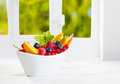Colourful bowl of tropical fruit Stock Image