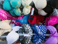 Colourful bras many and patterned for sale at street bazaar or market Royalty Free Stock Images