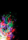 Colourful bright ink splat design Stock Images