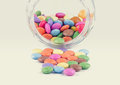 Colourful candies chocolate coated with jar Royalty Free Stock Images