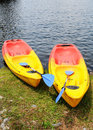 Colourful canoes Royalty Free Stock Photography