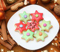 Colourful christmas cookies Stock Photos