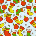Colourful christmas stockings seamless background with Royalty Free Stock Photo
