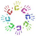 Colourful circle hand prints children s in a on a white background Royalty Free Stock Photography