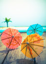 Colourful cocktail umbrellas Royalty Free Stock Photo