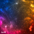 Colourful Cosmic background with nebula and bright stars.Vector illustration. Royalty Free Stock Photo
