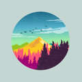 Colourful countryside vector illustration Royalty Free Stock Images
