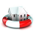 A colourful d rendered house in a lifebuoy concept illustration Stock Photos