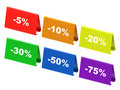 Colourful discount tags Royalty Free Stock Photo