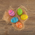 Colourful easter eggs in a nest Royalty Free Stock Photography