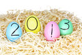Colourful Easter Eggs in Straw for 2013 Royalty Free Stock Photo