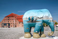 Colourful elephant in copenhagen figurines created from fiberglass are issued each is a unique work of art which were designed by Royalty Free Stock Photos