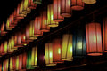 Colourful fabric lanterns in the night Royalty Free Stock Photography
