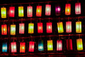 Colourful fabric lanterns in the night Stock Photos