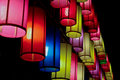 Colourful fabric lanterns in the night Stock Image