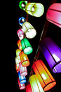 Colourful fabric lanterns in the night Stock Photography