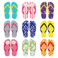 Colourful flip flop collection Royalty Free Stock Photography