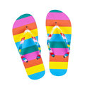Colourful flip flops isolated on white Royalty Free Stock Photo