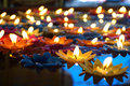 Colourful floating candles many of Royalty Free Stock Photography
