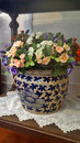 Colourful flowers in antique blue and white vase flower old china Royalty Free Stock Photo