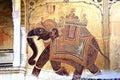 Colourful frescoes india mandawa 库存照片