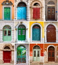 Colourful front doors to houses Stock Photography