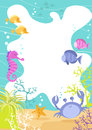 Colourful fun children s border sea creatures waves crab seahorse tropical fish coral Stock Photography