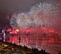 Colourful grand fireworks devoted to end of Year 2017 Royalty Free Stock Photo