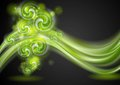 Colourful green waves and swirl elements bright on the dark background vector design eps Stock Photos