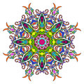 Colourful Hand Drawn Mandala, Oriental Decorative Element, Vintage Style.