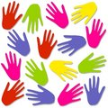 Colourful Hand Prints Background Pattern Stock Photography