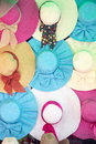 Colourful hats for sale on a stall Royalty Free Stock Photo