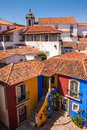 Colourful historic houses in portugal and rooftops seen from above the medieval town of obidos Royalty Free Stock Photo