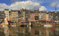 The colourful Honfleur harbour Royalty Free Stock Images