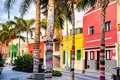 Colourful houses and palm trees on street in Puerto de la Cruz Royalty Free Stock Photo