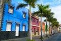 Colourful houses on street in Puerto de la Cruz, Tenerife Royalty Free Stock Photo