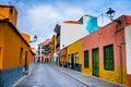Colourful houses on street in Puerto de la Cruz town, Tenerife, Royalty Free Stock Photo