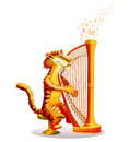Colourful illustrated cartoon image tiger plays harp Stock Image
