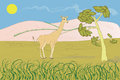 Colourful illustration african landscape Royalty Free Stock Images