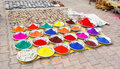 Colourful indian natural paints on the market Stock Photography