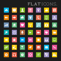 Colourful interface icons flat icon designs for mobile and web applications Royalty Free Stock Photo