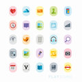 Colourful interface icons flat icon designs for mobile and web applications Royalty Free Stock Images