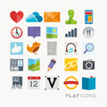 Colourful interface icons flat icon designs for mobile and web applications Stock Photos