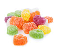 Colourful jelly candies close-up isolated on white background. Royalty Free Stock Photo