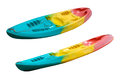 Colourful kayaks isolated on a white background empty canoe isolated Royalty Free Stock Image