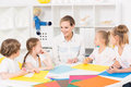 Colourful kindergarten art classes for kids Royalty Free Stock Photo