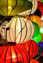 Colourful lanterns closeup of glowing Stock Photo