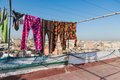 The colourful long plants bask on the clothes line roof top of building in casablanca morocco Royalty Free Stock Photo