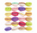 Colourful macaroons in plastic box on white background Royalty Free Stock Image